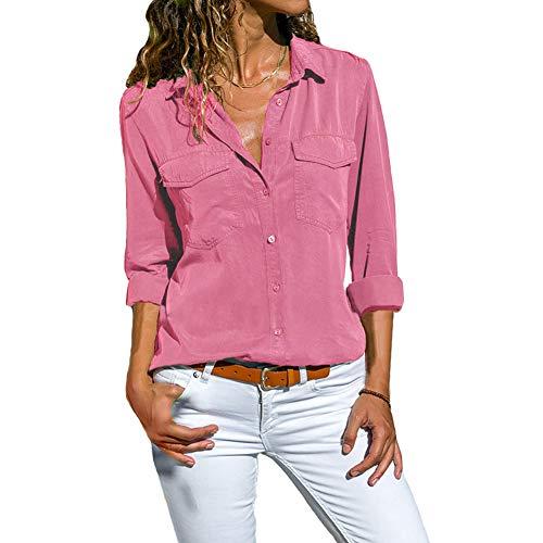 DoubleYI Bluse Damen Langarm Revers Kragen Hemdbluse V Ausschnitt Langarmshirts Blusen Einfarbig Business mit Knopfleiste Hemd Oberteile Elegant Herbst und Mode Sommer T-Shirt TopS-XXXXL (2XL, PK)