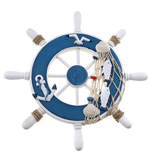 YINETTECH - Timón de dirección náutico para decoración de Pared, 23 x 23 cm, Madera, para Barco, Playa, hogar, decoración Interior, Style E