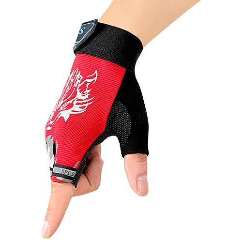 RUIXIA Kinder Halbfinger Handschuhe Fingerlose Handschuhe Fäustlinge Gloves Outdoor rutschfest Fahrradhandschuhe Sporthandschuhe für Radfahren, Fitness, Training, Laufen, Klettern für Jungen Mädchen