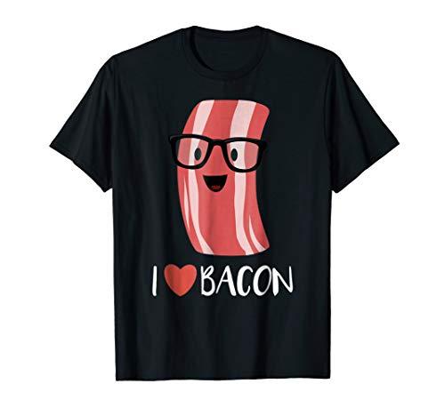 I Love Bacon T-shirt Geeky Glasses Heart Bacon Cartoon
