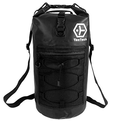【TaoTech】 防水バッグ ドライバッグ 防水 リュック ロールトップ 大容量 バッグ アウトドア 旅行 迷彩 男女兼用 20L (20L, ブラック20L)