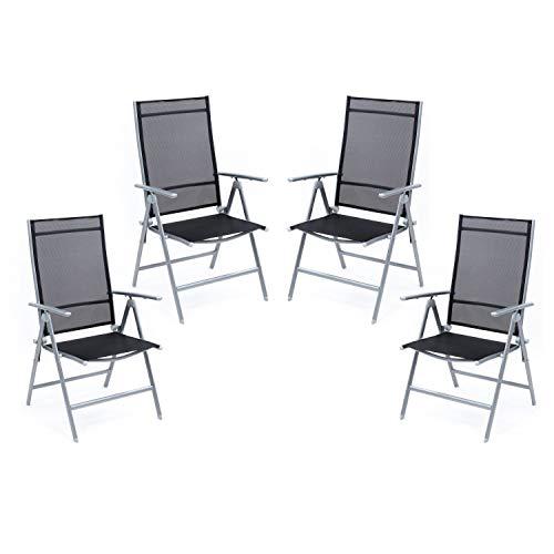 Ribelli Set sedie Pieghevoli sedie Campeggio Schienale Alto Sedia Giardino in Alluminio Esterno Poltrona Pieghevole, colorazione:Argento/Set di 4