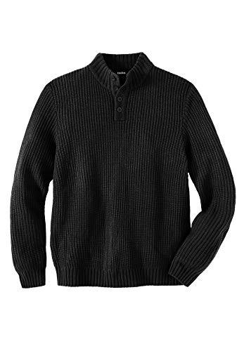 KingSize Men's Big & Tall Henley Shaker Sweater - Tall - 4XL, Black