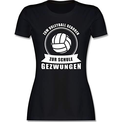Volleyball - Zum Volleyball geboren. Zur Schule gezwungen - M - Schwarz - Volleyball Shirt Damen - L191 - Tailliertes Tshirt für Damen und Frauen T-Shirt