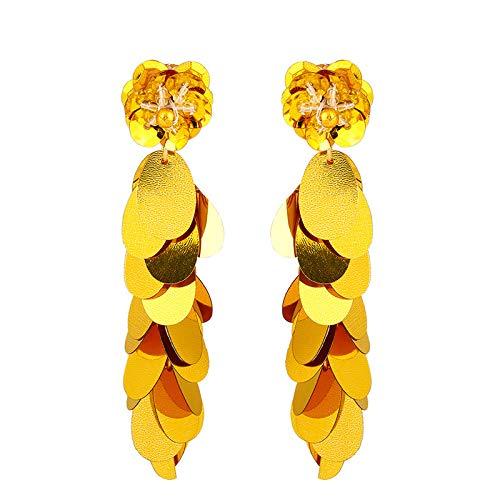 SHANGZHIQIN Pendientes Individuales de Lentejuelas largas con Escamas de Sirena, diseño Gama Alta, Amarillo de 9,4 * 2,0 cm