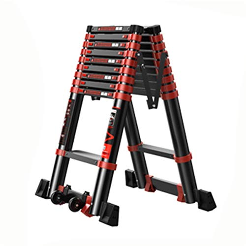 WHOJS Escalera Telescópica Escalera tipo A aleación de aluminio Pedal antideslizante Polea portatil Apto tanto para interiores como para exteriores Escalera de 9 escalones 3.5 m Escalera Alta Multifun