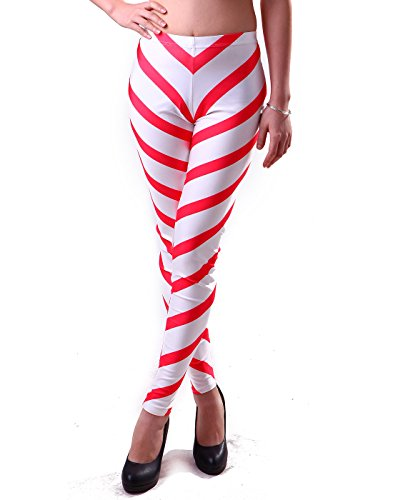 HDE - Leggings - para Mujer Rosa Candy Cane