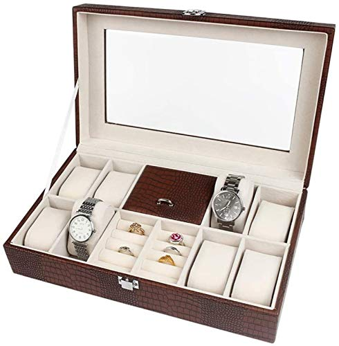 ZHANG Caja De Joyería De Cuero De Imitación Caja De Joyería Caja De Joyería Y Vitrina con Espejo para Pendientes Reloj Collar,B