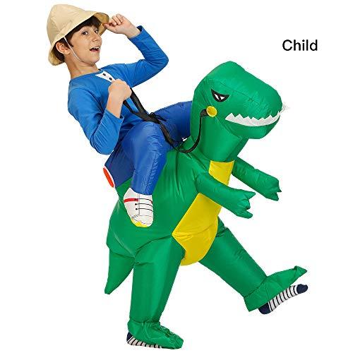 Disfraz inflable de dinosaurio de grandlin, para disfraz de Halloween, cosplay, accesorios para fiesta con abanico., tela, Verde Niño, 120-140cm(4-4.6ft)