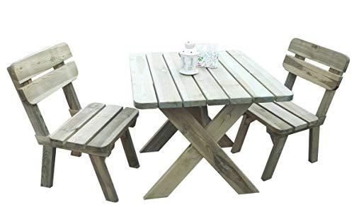 Platan Room Gartengarnitur Sitzgruppe Holz Tisch 86 x 93 Gartenmöbel Kiefer 35mm imprägniert (Tisch + 2 Stühle)