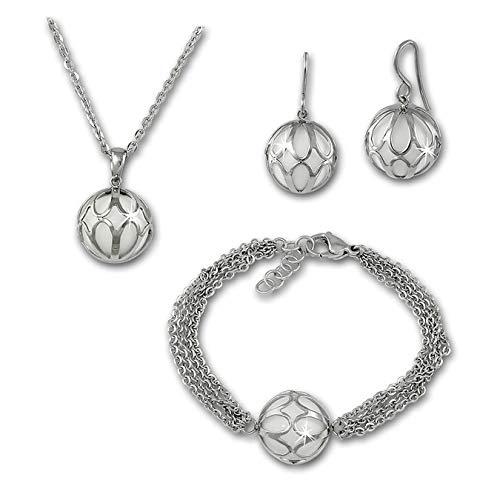 SterlinX Set - Halskette, Ohrstecker und Armband mit Achat Kugel - weiß - eingefasst in glänzendem Edelstahl D1ESSY02W