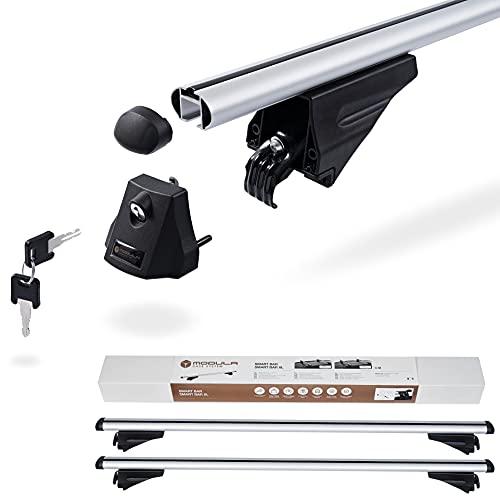 Kompletter Aluminium-Dachträger Modula Smart Bar 120 cm für Opel Mokka auch Mokka X ab 2012 mit Dachreling, abschließbar, Nutzlast 75 kg
