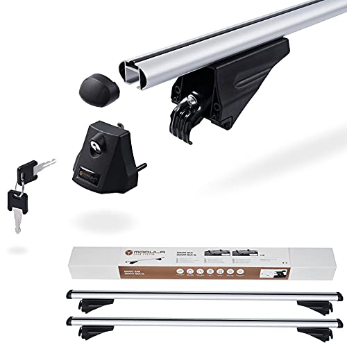 Kompletter Aluminium-Dachträger Modula Smart Bar 120 cm für Peugeot 508 I II SW Kombi (ohne Schiebedach) ab 2010 mit Dachreling, abschließbar, Nutzlast 75 kg
