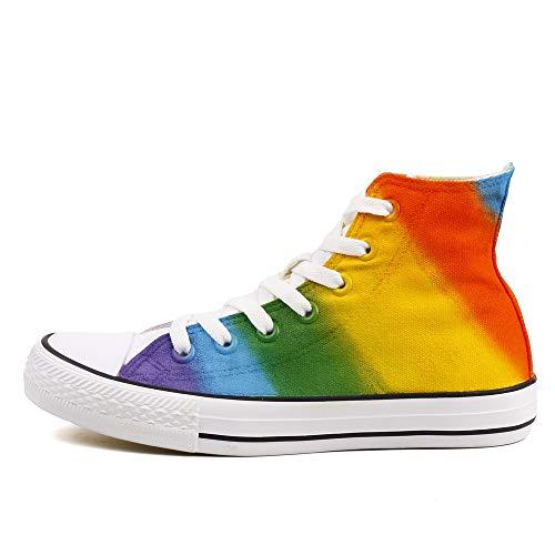 High Top Canvas Shoes Sneakers Rainbow Shoes Women Men Colorful Hand Paint Casual Flat (8 Women / 6 Men /CN40, Z105c)
