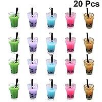 EXCEART 20個ミルクティーチャームペンダントバブル茶飲料ボトルdiyのキーホルダー、イヤリングジュエリーメイキングアクセサリー (混合色)