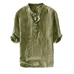 Tシャツ リネン ティーシャツ 薄手 涼しい vネック メンズ 五分袖 無地 ヘンリーネック 麻 コットン シン プル ベーシック トップス カジュアル おしゃれ 春 夏