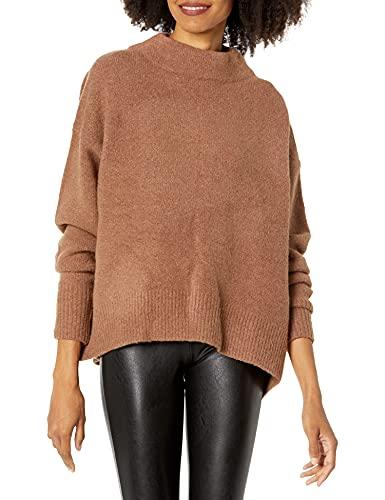 Cable Stitch - Maglione da donna con collo alto, grande, colore: caramello