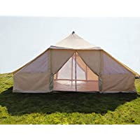 Latourreg Cotton Canvas 5X4M Touareg Bell Tent Square Glamping Safari Tent with Double Door.