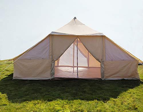 Safari Camping Canvas Touareg Bell Zelt 5 x 4 Meter mit Reißverschluss Bodenplane und Doppeltür