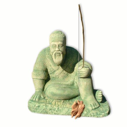 Déco jardin, statue, pêcheur à la ligne asiatique, grès reconstitué, importé de Thaïlande (10223)