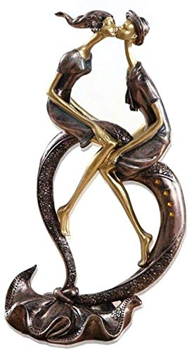 KUPR Figuritas Estatuas y esculturas Animales Artificiales Adornos decoración de jardín 29 cm (11,4) Beso Apasionado Pareja Amante de la Imagen Boda gabinete de Vino Sala de Estar