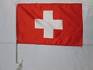 AZ FLAG Drapeau de Voiture Suisse 45x30cm Carflag helv/étique 30 x 45 cm