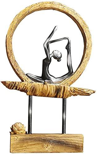 JJDSN Estatuilla de Escultura de Pose de Yoga Estatuas de Mujer meditando con Adorno de Loto, decoración única de la Sala de Yoga de la Oficina en casa
