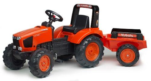 FALK - Tracteur à pédales Kubota avec remorque - Dès 3 ans - Fabriqué en France - volant directionnel avec klaxon - Siège ajustable - 2060AB