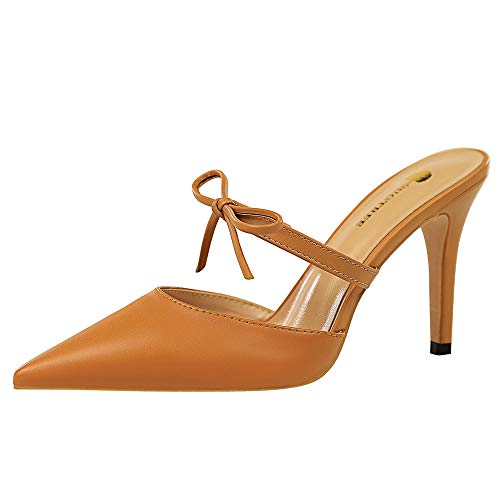 Lydee Donne Moda Stiletto Mules Sandali Punto Chiuso Slip On Festa Heels Slides Sandali Dress Scarpe Estive Bow Camel Dimensione 38