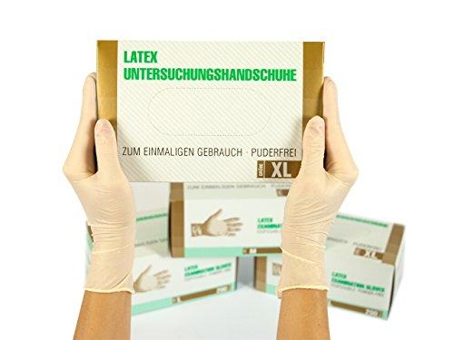 Latexhandschuhe 200 Stück Box (XL, Weiß) Einweghandschuhe, Einmalhandschuhe, Untersuchungshandschuhe, Latex Handschuhe, puderfrei, unsteril, disposible gloves
