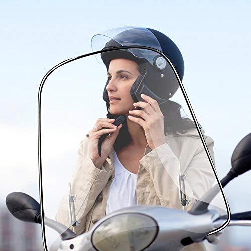 Zihui Parabrezza per Moto 46 × 42,5 Cm Parabrezza Allargato Materiale Universale per PC Parabrezza Trasparente per Scooter Elettrico Parabrezza Anteriore per Moto Elettrica Deflettore del Vento