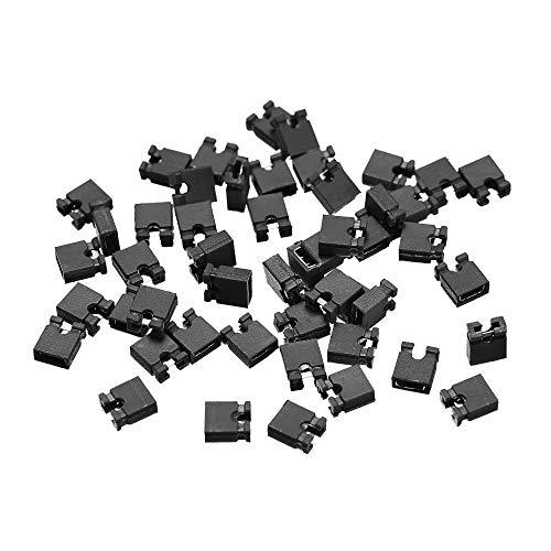 sourcing map 50 Stück 2,54 mm Standard Pin Header Jumper Cap Kurzschluss Verbindungskappe Mini Micro Jumper Brückenstecker schwarz
