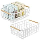 mDesign Juego de 2 cajas multiusos grande de metal – Caja organizadora multifunción para cocina, despensa, etc. – Cesta de almacenaje de alambre, compacta y metálica con asas de bambú – blanco mate