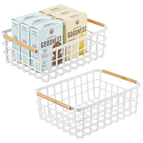 mDesign Wire Storage Basket — Practical Wire Basket for Storing Items in the Home — Metal Basket for Kitchen Bedroom Bathroom and More — Matte White - Set of 2