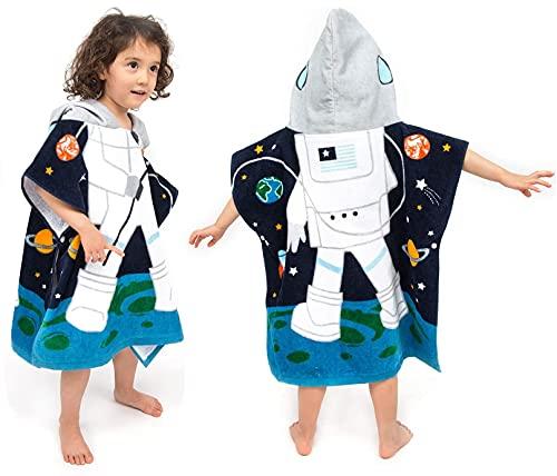 HausFine Poncho De Bain Enfant Serviette de Bain Peignoir à Capuche pour garçon Fille Enfant Poncho de plage 100% Coton (C, 60 x 70 CM)