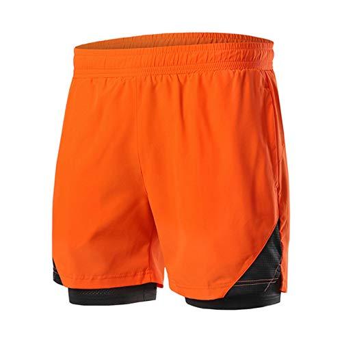 Pantalones Cortos para Correr 2 en 1 para Hombre,Maratón de Un Tercio de Shorts Transpirables de Secado Rápido Deportivos de Entrenamiento de Gimnasio MTB Ciclismo Pantalones Cor(Size:S,Color:naranja)