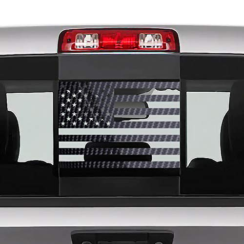 Bogar Tech Designs Rear Back Middle Window American Flag Vinyl Decal Compatible with and Fits Dodge Ram 2009-2021, Glossy Carbon Fiber Black