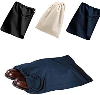(3 Pack) Set of 3- Reusable Cotton Shoe Bags with Drawstring (Black)