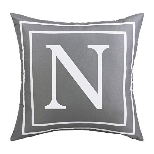 Yastouay Alphabet Letter Cushion Covers, Pillow Case Soft Plush Pillow Decorative Pillow Cover, Cover Cushion Case Grey 45 x 45cm (N)