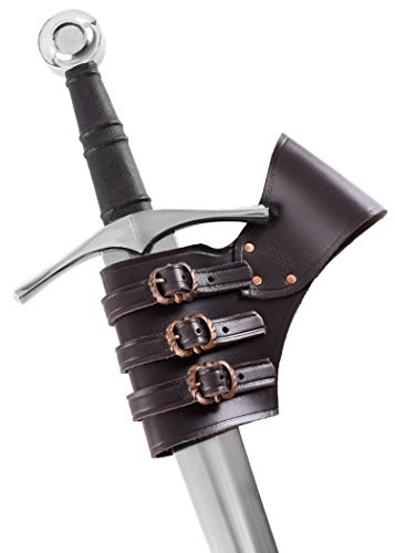 Ulfberth Schwerthalter verstellbar aus Leder | Mittelalter Gürtelhalter LARP Schwertgürtelhalter Piraten Kostüm - Braun