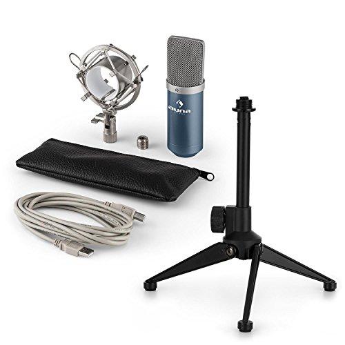 auna MIC-900BL - USB Mikrofon-Set V1, Kondensatormikrofon + Mikrofon-Tischständer, Nierencharakteristik, USB, Plug & Play, perfekte Haltteeigenschaft, Höhenverstellbar, rutschfest, blau