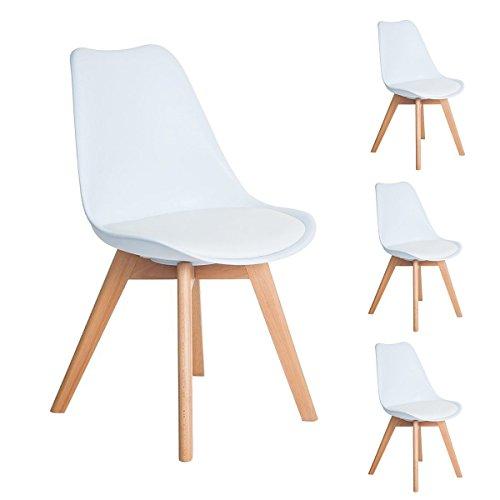 4er Set Esszimmerstühle mit Massivholz Buche Bein...