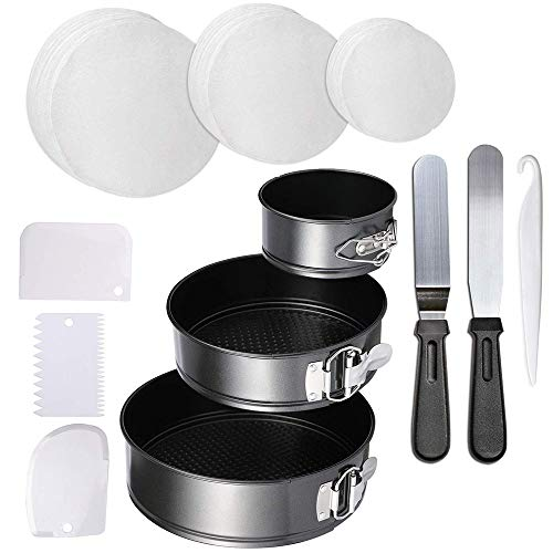 4″ 7″ 9″ Springform Cake Pan Set – Non-stick Round Leakproof Cheese Cake Pan with 150 piece Parchment Paper Liners