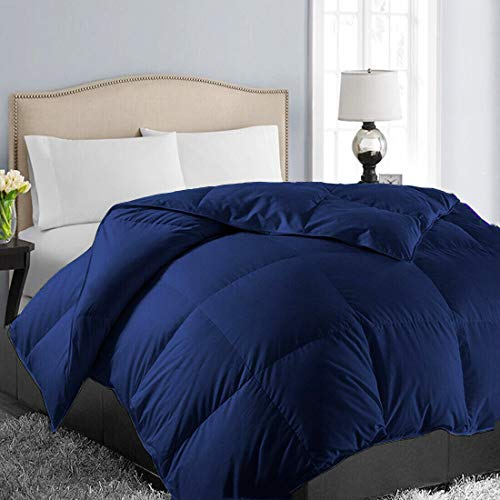 EASELAND All Season Oversized Queen Soft Quilted Down Alternative Comforter Hotel Collection Reversible Duvet Insert with Corner Tabs,Winter Warm Fluffy Hypoallergenic,Navy,98 by 98 Inches