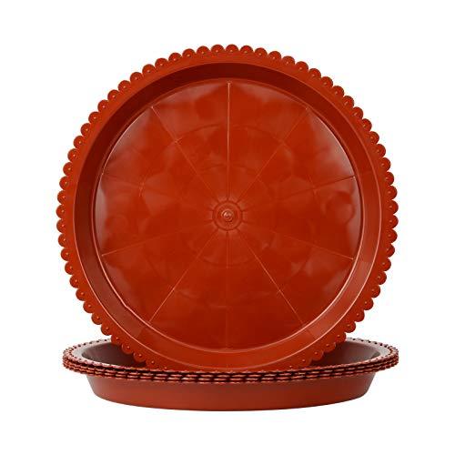Macetero redondo de plástico para jardín, maceta de flor, plato para macetas de plantas, recipiente para plantas (23 cm), color marrón