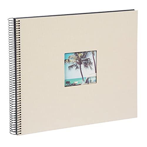 goldbuch 25623 Spiralalbum mit Bildausschnitt, Bella Vista, Foto Album 35 x 30 cm, Fotoalbum mit 40 schwarze Seiten, Erinnerungsalbum aus Leinen, Fotobuch für Bilder & Fotos zum Einkleben, Sandgrau