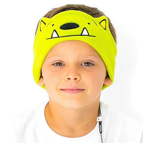 CozyPhones Over The Ear Headband Headphones - Kids Headphones Volume Limited with Thin Speakers & Super Soft Fleece Headband - Whatif Monster