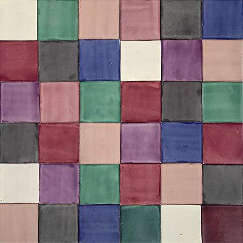 Cerames Ciruela - Patchwork de azulejos lisos - 90 piezas 1m2 | Azulejos de cerámica mexicanos multicolor para cocina y baño