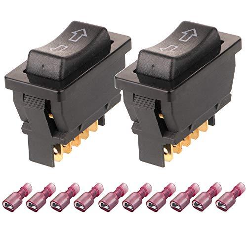 Gebildet 2pcs 5pin DPDT 12V Universal Momentáneo Interruptor Elevalunas Eléctrico Botón de Ventanilla para Coche Auto