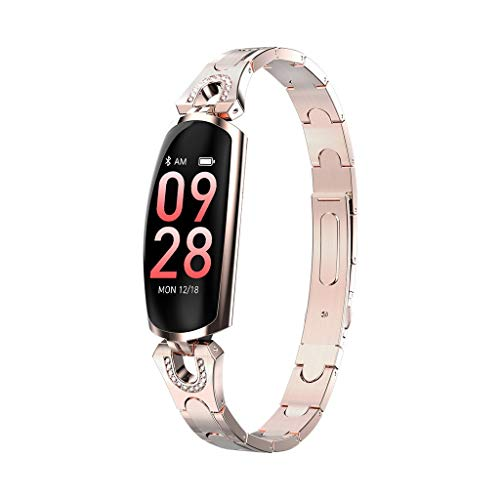 Fitness Tracker Waterproof Smart Watch with Heart Rate Monitor, Slim Activity Tracker Watch, Pedometer, Sleep Monitor, Calorie Counter, Smart Band for Kids Women Men (Gold, one Size)